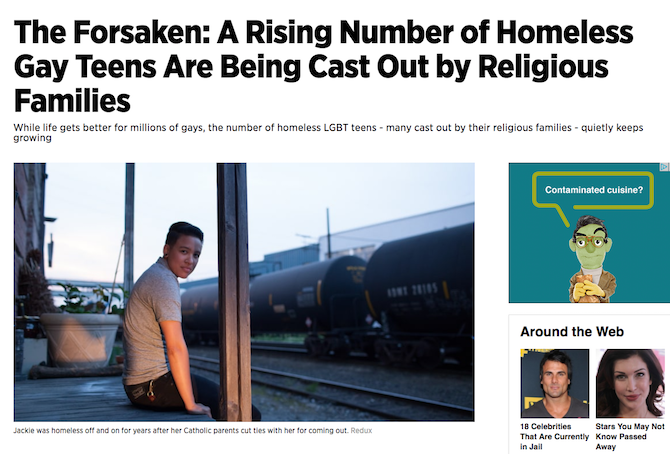 The Forsaken: A Rising Number of Homeless Gay Teens Are Being Cast Out by Religious Families