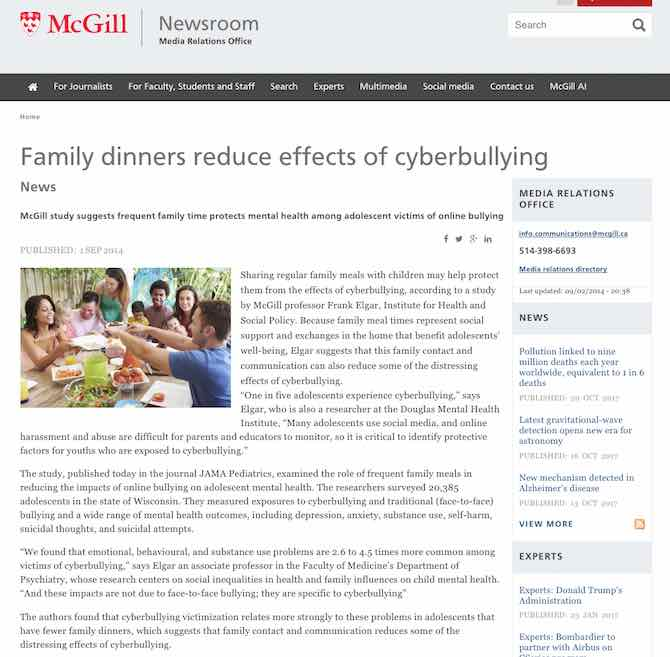 Family dinners reduce effects of cyberbullying