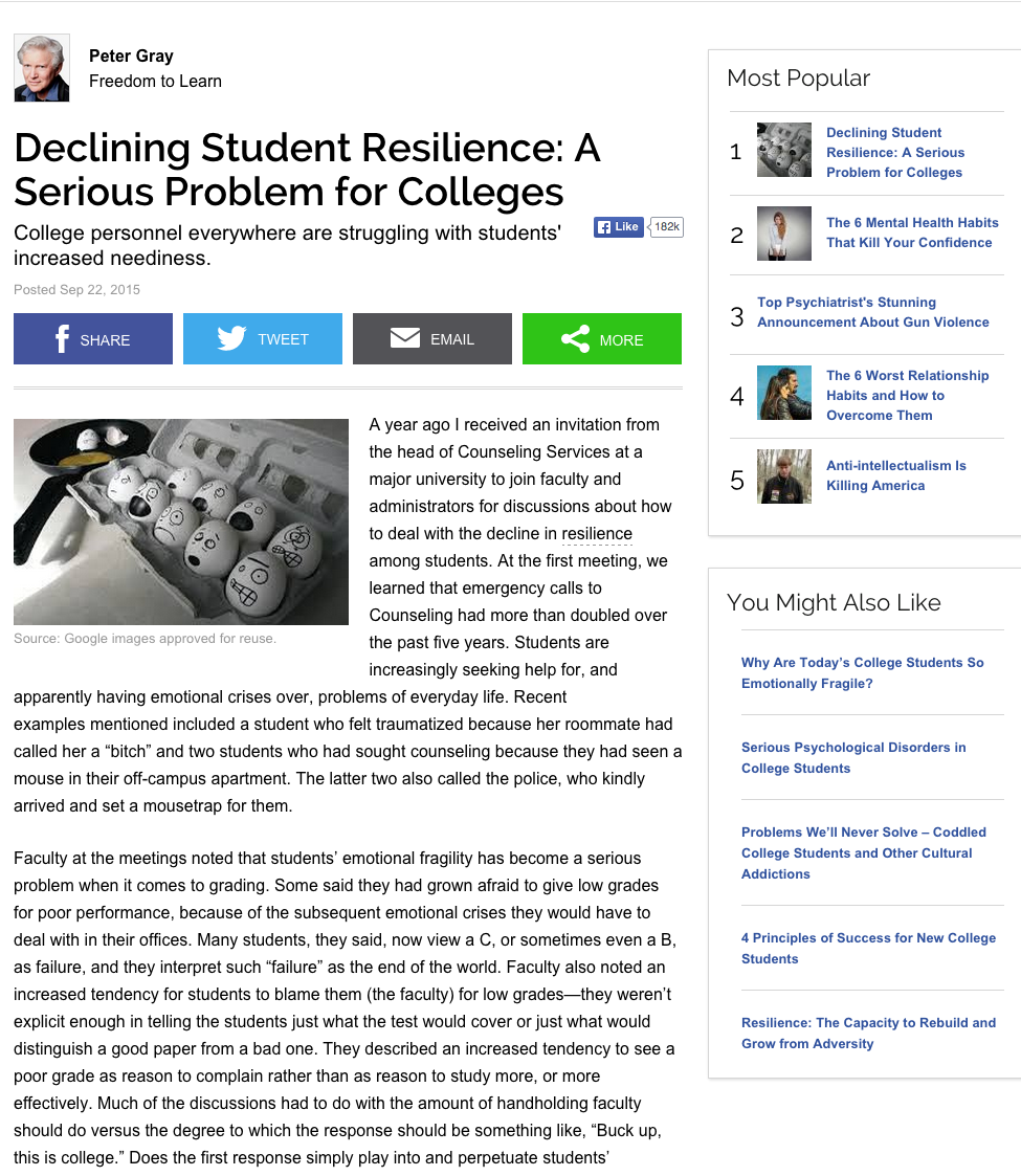 Declining Student Resilience: A Serious Problem for Colleges