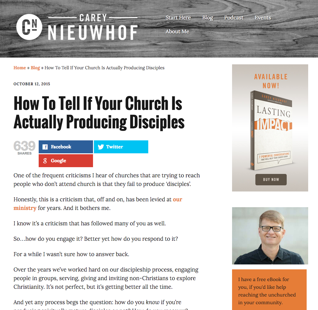 Carey Nieuwhof: How To Tell If Your Church Is Actually Producing Disciples