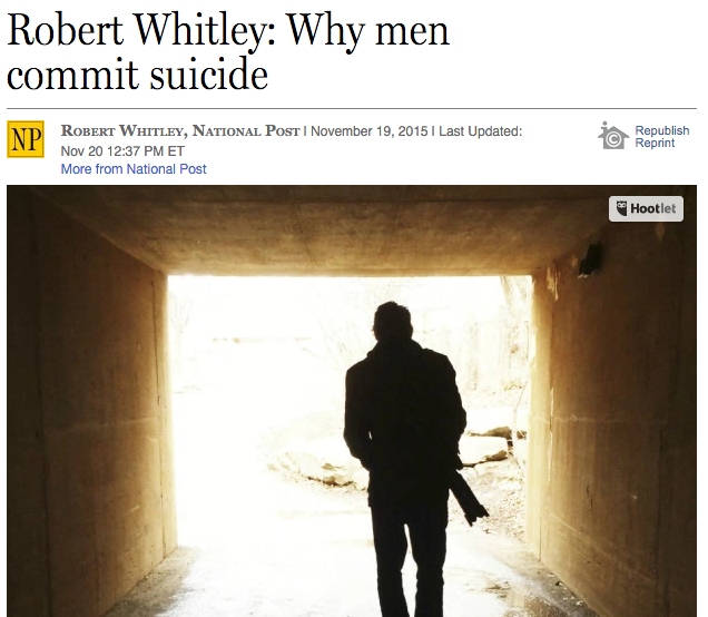 Robert Whitley: Why men commit suicide