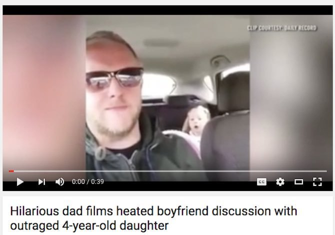 Hilarious dad films heated boyfriend discussion with outraged 4-year-old daughter