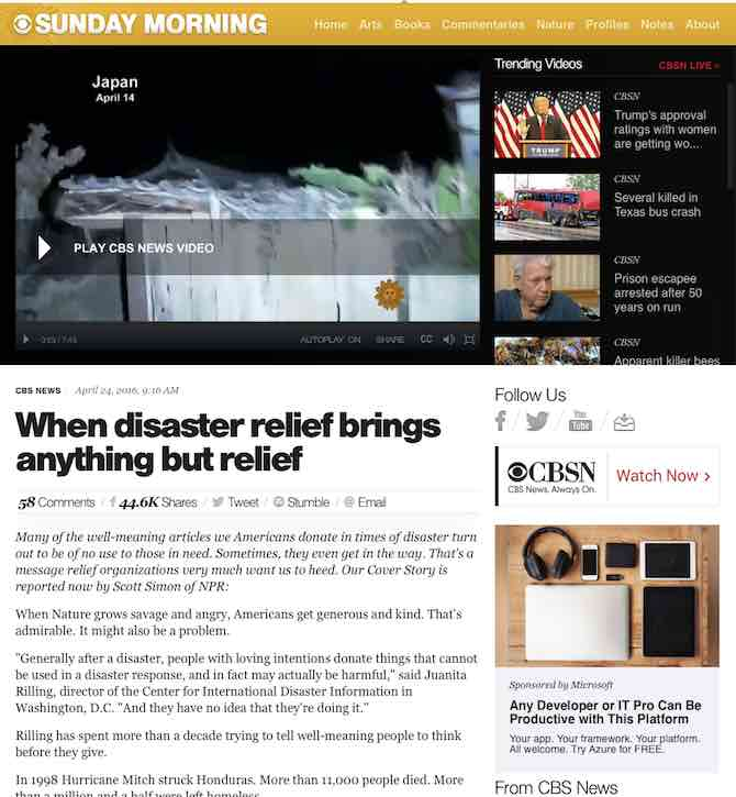 When disaster relief brings anything but relief
