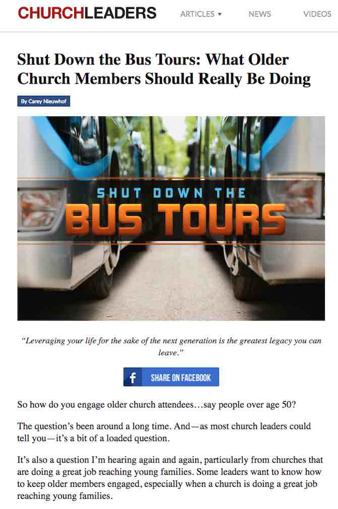 Shut Down the Bus Tours: What Older Church Members Should Really Be Doing