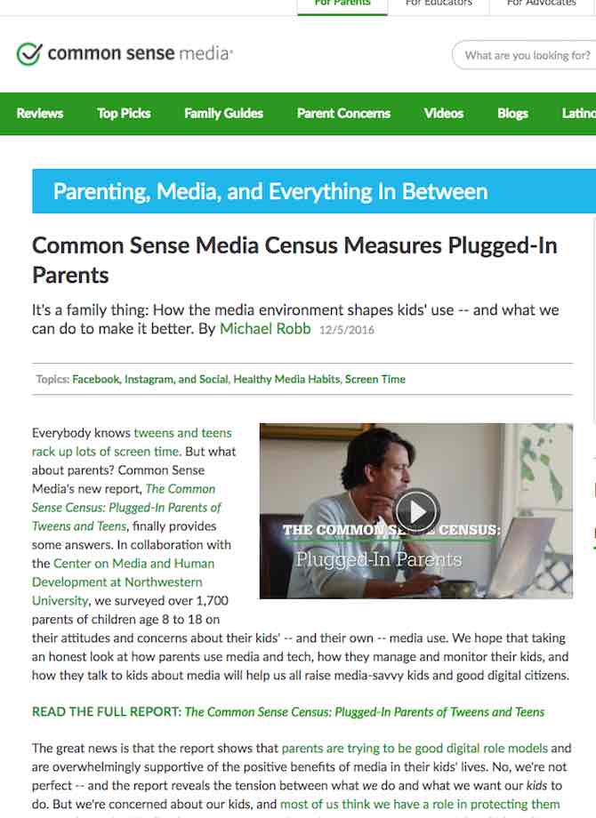 Common Sense Media Census Measures Plugged-In Parents