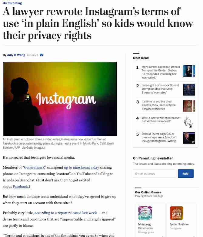 A lawyer rewrote Instagram's terms of use 'in plain English' so kids would know their privacy rights