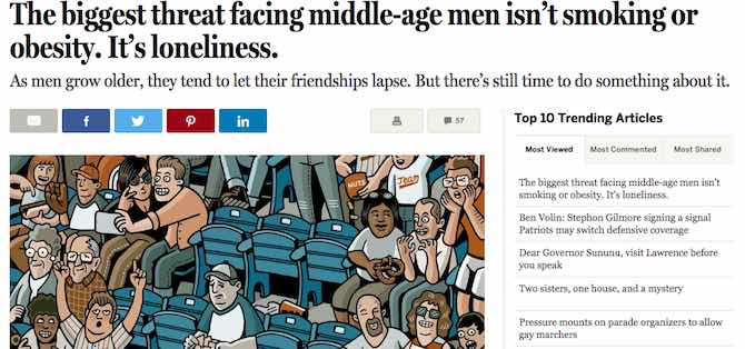 The biggest threat facing middle-age men isn't smoking or obesity. It's loneliness.