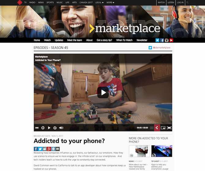 Addicted to your phone? CBC: Marketplace