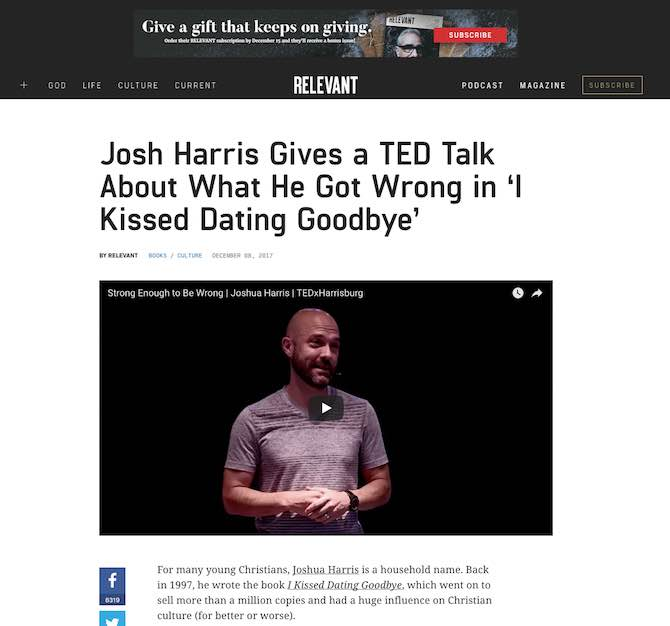 Josh Harris Gives a TED Talk About What He Got Wrong in 'I Kissed Dating Goodbye'