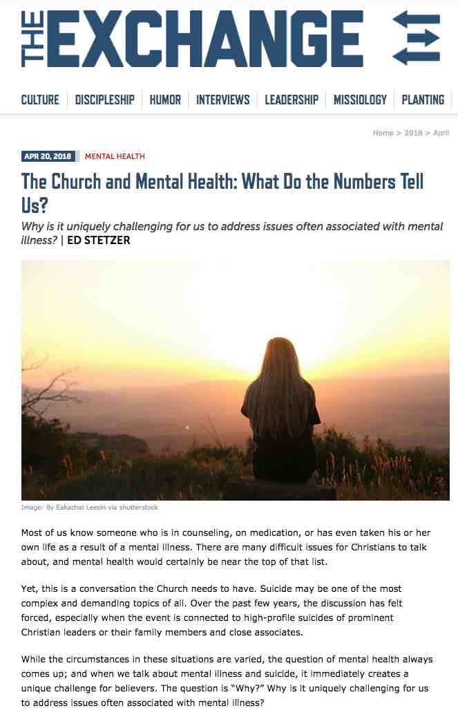 The Church and Mental Health: What Do the Numbers Tell Us?