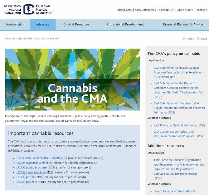 Cannabis and the CMA (Canadian Medical Association)