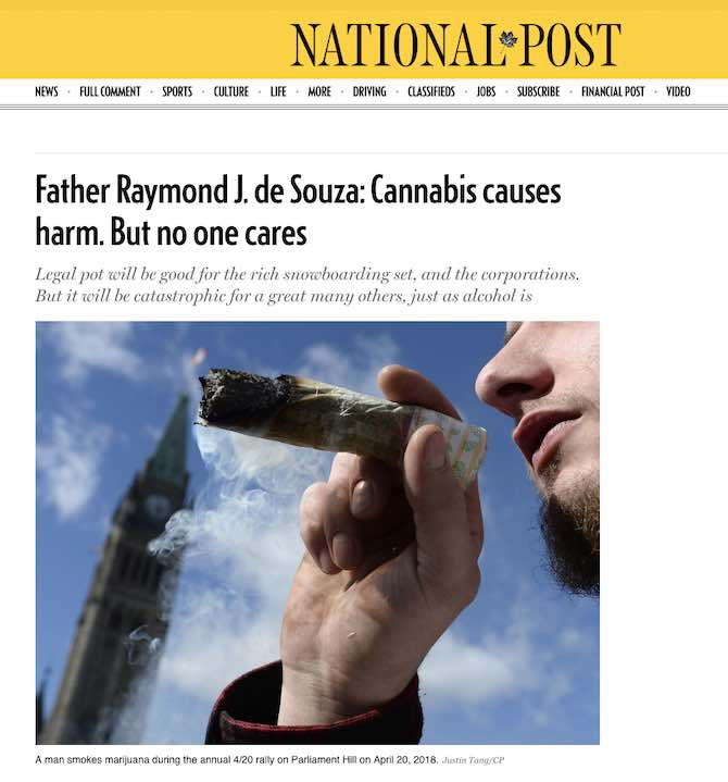 Father Raymond J. de Souza: Cannabis causes harm. But no one cares