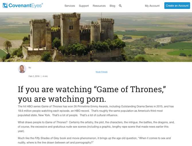 "If you are watching ""Game of Thrones,"" you are watching porn."