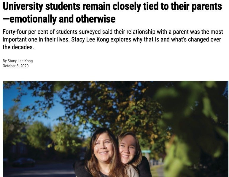 University students remain closely tied to their parents—emotionally and otherwise