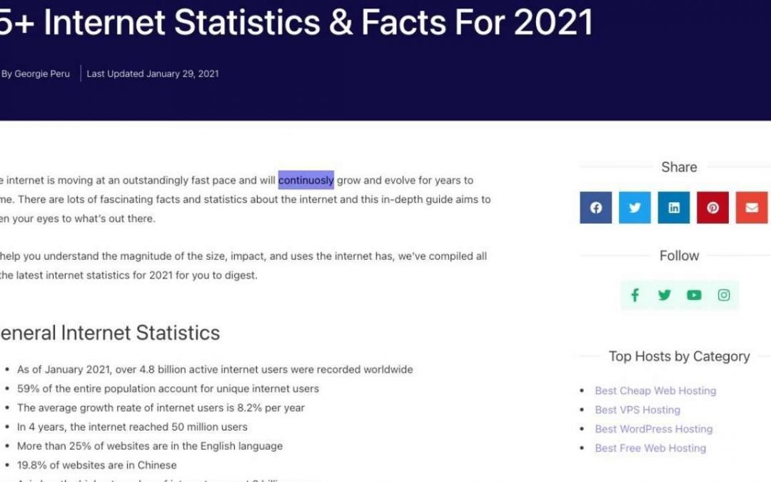 75+ fascinating Internet Statistics & Facts For 2021