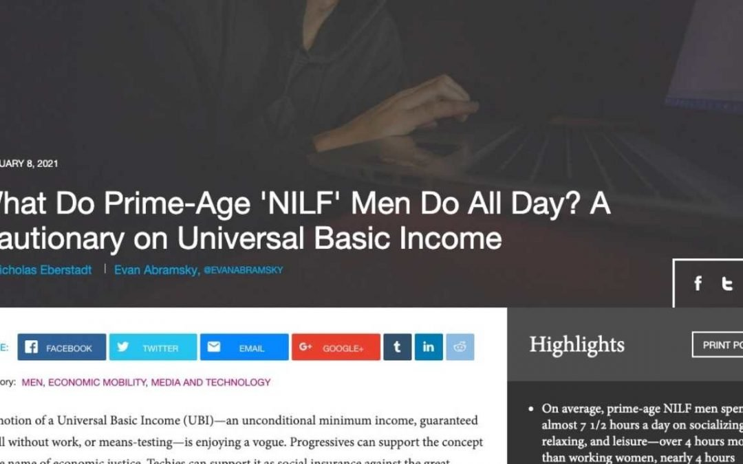 What Do Prime-Age 'NILF' Men Do All Day? How to be a better man